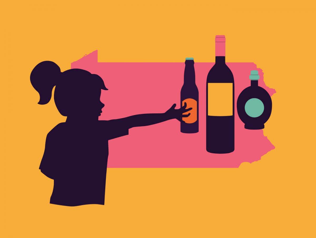 Illustration of girl reaching for alcohol bottles.